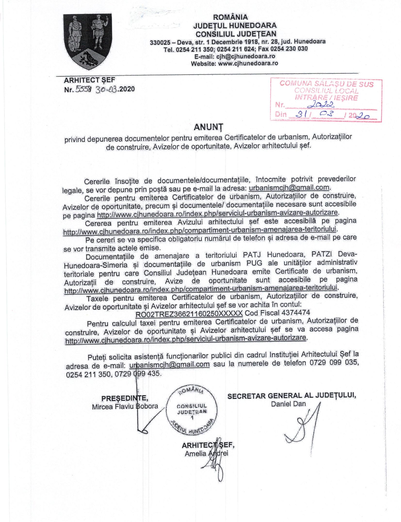 Depunerea documentelor pentru certificatul de urbanism